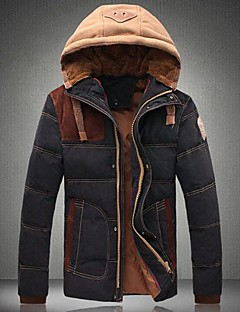Men's Color Matching Hooded Cotton-Padded Clothes Coat