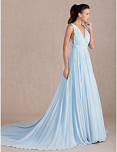 TS Couture® Formal Evening Dress - Open Back / Elegant / Sexy Plus Size / Petite A-line V-neck Sweep / Brush Train Georgette with Side Draping
