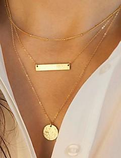 Femme Colliers chaînes Collier multi rangs Forme Géométrique Alliage Mode Européen Multicouches Paillettes bijoux de fantaisie Bijoux Pour