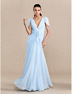 Formal Evening / Prom / Military Ball Dress - Sky Blue Plus Sizes / Petite Sheath/Column V-neck Floor-length Chiffon