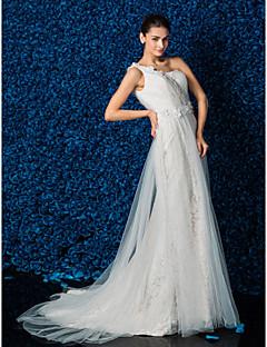 시스/컬럼 원 숄더 쿼트 트레인 웨딩 드레스 ( 사틴 )