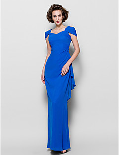Lanting Sheath/Column Plus Sizes / Petite Mother of the Bride Dress - Royal Blue Floor-length Short Sleeve Chiffon