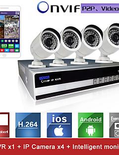 sinocam® 4ch NVR und 720p P2P-IP-Kamera-Sicherheitssystem-Kit Unterstützung Video Push