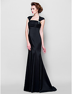 Lanting Bride Trumpet / Mermaid Plus Size / Petite Mother of the Bride Dress Sweep / Brush Train Sleeveless Stretch Satin withCrystal