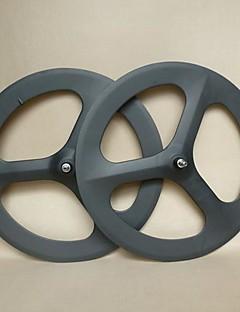 UDELSA 700C Track Carbon Wheels 3 Spoke 70mm Deep Tubular Bicycle Wheelset Fixed Gear(1 pair)