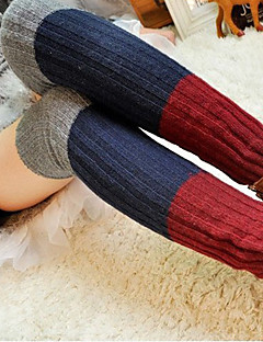 Women's Winter Knitting Cotton Color Joint Twisted Foot Set Leg warmers