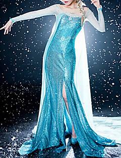 frysta elegant prinsessa elsa blå klänning cosplay dräkt