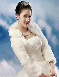 Wraps Wedding / Coprispalle in pelliccia Cappotti / Giacche Maniche lunghe Pelliccia ecologica Bianco / Rosso rubino MatrimonioCon