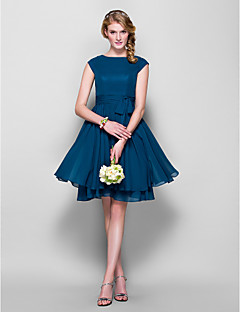 Lanting Bride® Knee-length Chiffon Bridesmaid Dress A-line / Princess Jewel Plus Size / Petite withBow(s) / Buttons / Sash / Ribbon /