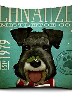 schnauzer de chien de coton / lin taie d'oreiller décoratif