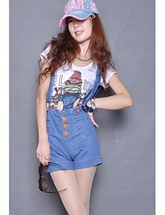 modieuze single-breasted jarretel denim shorts blauw