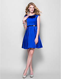Lanting Bride® Short / Mini Stretch Satin Bridesmaid Dress - Mini Me A-line Jewel Plus Size / Petite with Beading / Sash / Ribbon