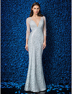 Formal Evening / Prom / Military Ball Dress - Silver Plus Sizes / Petite Trumpet/Mermaid V-neck Ankle-length Lace / Tulle / Stretch Satin