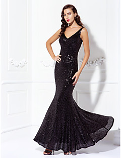 TS Couture Prom Black Tie Gala Dress - Sparkle & Shine Trumpet / Mermaid V-neck Floor-length Sequined with Sequins