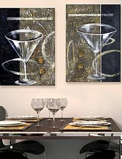 e-home® lona esticada és um copo de vinho tinto copo decoração pintura conjunto de 2