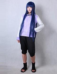 קיבל השראה מ Naruto Hinata Hyuga אנימה תחפושות קוספליי חליפות קוספליי אחיד שחור / סגול שרוולים ארוכים מעיל / מכנסיים קצרים