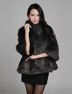 Fur Coat  3/4 Sleeve Standing Faux Fox Fur Special Occasion/Casual Coat