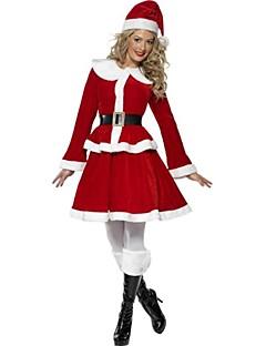 Cosplay Kostumer Julemands Dragt Festival/Højtider Halloween Kostumer Frakke / Nederdel / Bælte / Hat Jul Kvindelig Polyester