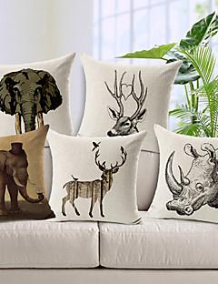 ensemble de cinq sauvages modèle animal coton / lin taie d'oreiller décoratif