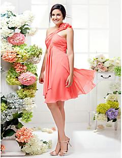 Vestido de Madrinha - Melancia Linha-A Assimétrico Coquetel Georgette