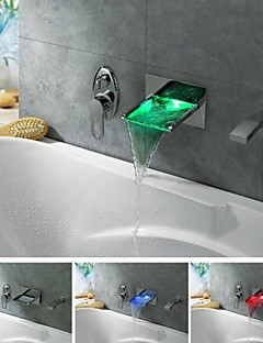 Badekarshaner - Moderne - LED / Vandfald / Håndbruser inkluderet - Messing (Krom)