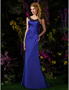 Lanting Bride® Sweep / Brush Train Satin Chiffon Bridesmaid Dress - Sheath / Column Scoop Petite with Beading / Side Draping