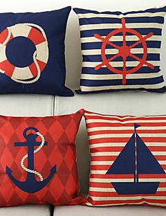 set om 4 nautiska mönster bomull / linne dekorativa örngott