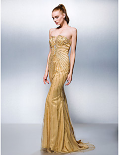 TS Couture® Formal Evening Dress - Gold Plus Sizes / Petite Trumpet/Mermaid Strapless Sweep/Brush Train Tulle / Stretch Satin