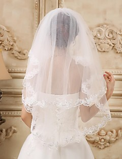 Two-tier Tulle Elbow Veils  With Lace Applique Edge