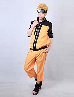 Innoittamana Naruto Naruto Uzumaki Anime Cosplay-asut Cosplay Puvut Patchwork Oranssi Pitkä hiha Päälystakki / Housut