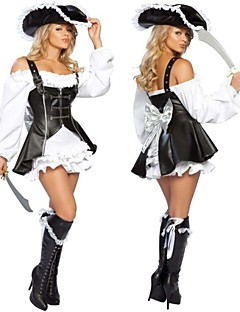 Punk Female Pirate Black PU  & White Cotton Cosplay Costume