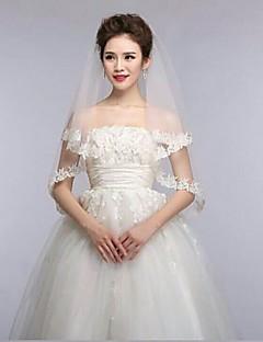 ivoor één band vingertop bruiloft sluiers met fijne bloem applique bekleding asv15