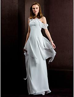 웨딩 드레스 - 아이보리(색상은 모니터에 따라 다를 수 있음) 시스/컬럼 바닥 길이 원 숄더 밸뱃 쉬폰
