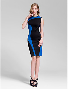 Homecoming Cocktail Party Dress - Daffodil/Ruby/Royal Blue/White Sheath/Column Jewel Knee-length Cotton