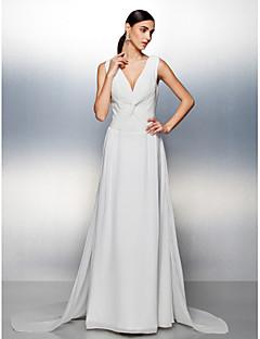 Formal Evening Dress - Ivory A-line V-neck Court Train Chiffon