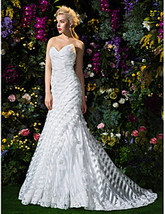 Lan Ting Trumpet/Mermaid Wedding Dress - Ivory Court Train Sweetheart Organza