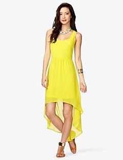 Women's Beach Dress,Solid U Neck Asymmetrical Sleeveless Red / Yellow Polyester Summer