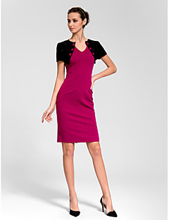 Homecoming Cocktail Party Dress Sheath/Column V-neck Knee-length Polyester