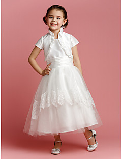 Lanting Bride A-line / Princess Tea-length Flower Girl Dress - Taffeta / Tulle Short Sleeve Jewel with Lace / Ruching