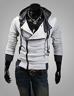 Men's White/Black/Gray Plus Size Hoodied Jacket