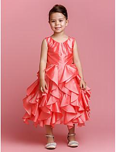 Ball Gown Jewel Tea-length Taffeta Flower Girl Dress (2174412)