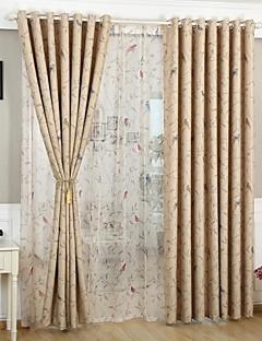 Room Darkening  Printing  Flower And Bird Curtain (Two Panel)