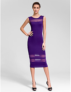 Cocktail Party Dress - Regency Sheath/Column Jewel Knee-length