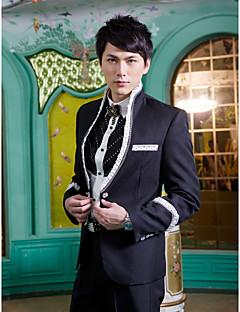 svart solid slim fit dress i polyester