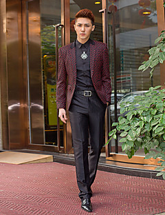 bordeaux&zwarte print slim fit smoking in polyester