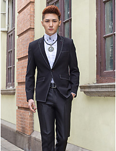 Black Solid Slim Fit Tuxedo In Polyester