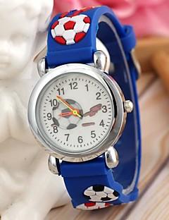 kinderkleding sport stijl voetbal siliconen band quartz horloge blauw (1 st)