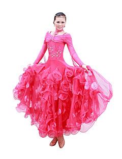 ריקודים סלוניים שמלות בגדי ריקוד נשים אימון / ביצועים כותנה ממורצרת נצנצים שרוול ארוך