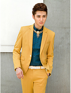 Yellow Solid Slim Fit Tuxedo In Polyester
