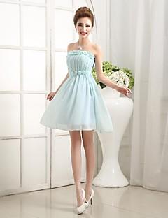 Brautjungfernkleid - Lila/Blau/Champagner/Bonbonpink Chiffon - A-Linie/Princess-Stil - wadenlang - Herz-Ausschnitt